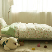 棉学生宿舍被套单人床上三件套床品 儿童床单1.2米床上用品棉 全工艺 柳上花