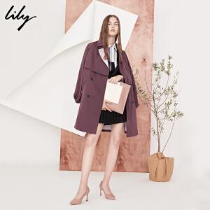 【每满200减100】Lily2018秋新款风衣女装商务通勤双排扣中长款风衣外套118110C1612