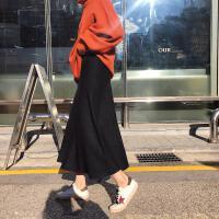 2018冬季新款女装裙子 韩版百搭黑色高腰针织裙时尚半身长裙A字裙 黑色 均码