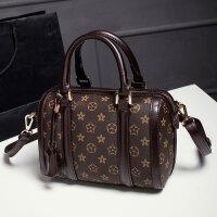 新款欧美时尚印花女包波士顿手提包单肩斜挎枕头包经典圆桶包