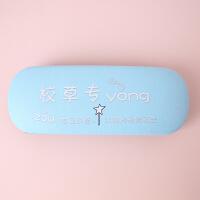韩国皮质卡通眼镜盒清新简约男女学生框架眼镜收纳盒防摔压