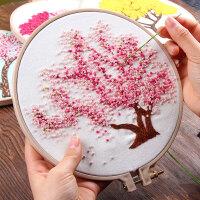 刺绣diy樱花树手工创意制作欧式初学简约现代 小幅丝带绣立体线绣