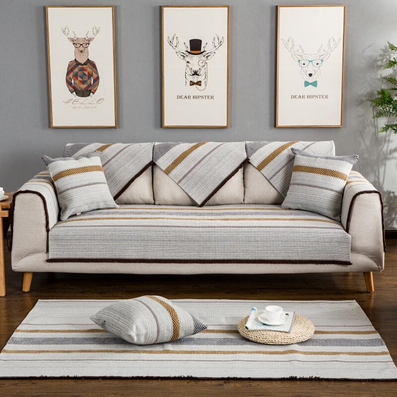 仿棉麻皮沙发垫四季通用夏季布艺沙发巾套罩扶手靠背地中海蓝 灰色 星空,灰色
