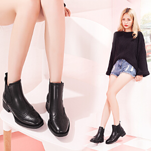 【毅雅】牛二层皮新款时尚休闲粗跟英伦风短靴子  YM6PR6608