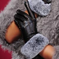 真皮手套女冬 短款手工缝线獭兔毛口保暖加厚羊皮手套