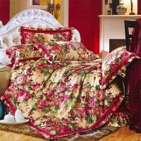 伊迪梦家纺 生态蚕丝棉贡缎提花四件套 加厚面料莫卡世代大版花卉2.0米双人床上用品OKM301