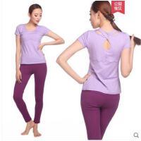 休闲运动服修身短袖长裤女健身服两件套含胸垫瑜伽服套装