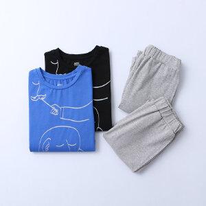 AMII童装2017夏季男童套装趣味印花上衣休闲宽松短裤两件套装