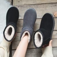雪地靴女冬季加绒防滑中筒靴保暖面包鞋学生马丁靴棉鞋