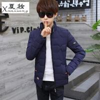 夏妆男学生冬装新款青少年加厚帅气棉袄子韩版修身潮短款保暖外套 藏青色 6188