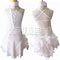 少儿女款 拉丁舞演出服比赛服表演服装儿童拉丁裙羽毛流苏