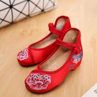 老北京布鞋女春季新款儿童鞋民族风绣花鞋女大童舞蹈鞋魔术贴童鞋