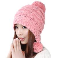 韩版潮毛线帽子女秋冬天保暖可爱黑/粉色球球护耳针织帽