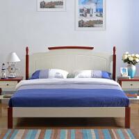 尚满 地中海边框实木卧室家具系列单双人简易床 板式高箱储物床 排骨架单床体(不含床垫)