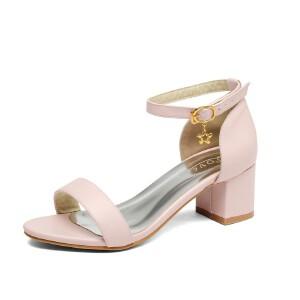 ELEISE美国艾蕾莎新品098-48-1欧美超纤皮中跟粗跟女士凉鞋