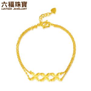 六福珠宝足金手链女款丁香花双层黄金手链 B01TBGB0027
