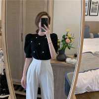 春夏新款港风套装女复古chic钉珠泡泡袖上衣西装休闲裤时尚两件套