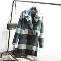 加肥加大码女装胖MM韩版冬装新款修身显瘦大格子毛呢大衣外套Z272 图色