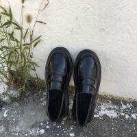 英伦风女鞋黑色小皮鞋简约百搭平底单鞋小皮鞋女春季新款乐福鞋女 黑色