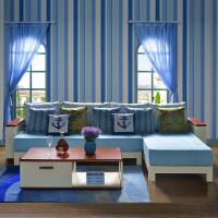 尚满 地中海客厅边框实木布艺沙发+茶几组合 排骨架实木沙发三人位+贵妃位转角沙发