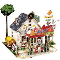 3d立体拼图建筑模型diy小屋 房子拼装积木儿童木质玩具