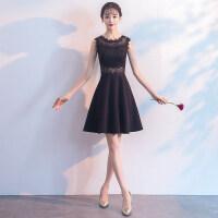 晚礼服女2018新款夏季宴会派对毕业聚会学生小礼服韩版短款连衣裙 W180310黑色