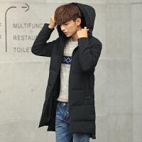 反季男士羽绒服男中长款修身韩版潮新款正品青年加厚冬季外套