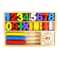 男孩宝宝儿童益智木质算术数字学习盒 宝宝数学早教教具木制玩具积木兼容乐高