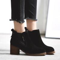 小红人切尔西短靴女秋冬2017新款粗跟马丁靴女英伦风女鞋高跟靴子