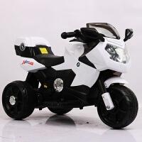 顺丰儿童电动摩托车三轮车男宝宝遥控玩具车1-3-5岁充电可坐 单驱8A电瓶白色 收藏宝贝送坐垫