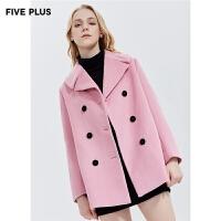 Five Plus新款女冬装毛呢外套女中长双排扣大衣大翻领潮长袖宽松