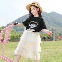 女童套装裙夏装中大童女装儿童蓬蓬纱公主裙