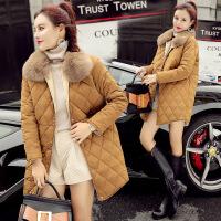 棉衣女中长款2017冬季新款韩版潮狐狸毛领修身菱形格撞色外套