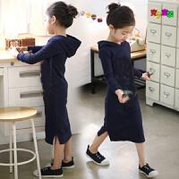 韩版童装秋冬季女童纯棉连衣裙中大童印花卫衣亲子装打底裙加绒厚