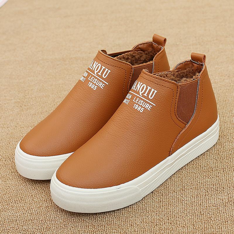 环球冬季新款加绒加厚套筒女短靴韩版纯色平底鞋超纤保暖棉鞋