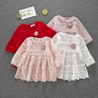 0-3岁女宝宝连衣裙长袖春秋季新款韩版婴幼儿公主裙周岁洋气礼服