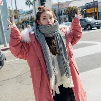 实拍 秋冬新款韩国白色毛领宽松工装棉衣女外套