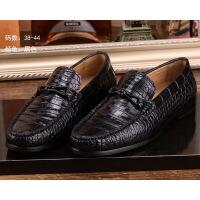 鳄鱼皮鞋男真皮商务休闲泰国鳄鱼肚皮腹皮豆豆鞋男士皮鞋 黑色