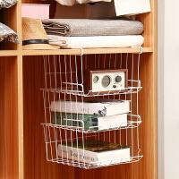 欧润哲 多层可叠加下挂篮书架可挂 简易衣柜杂物收纳架厨房卫浴隔板衣服网篮收纳篮 3只