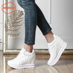 SHOEBOX/鞋柜新款时尚内增高女鞋 圆头系带休闲鞋