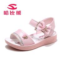 哈比熊女童凉鞋儿童公主鞋中大童女孩韩版沙滩鞋2017夏季新款潮