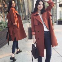 风衣女中长款修身显瘦腰带大衣外套2017秋新款韩版女装 焦糖色
