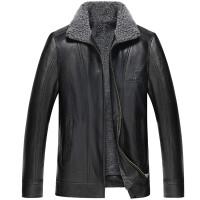 冬季男装夹克宽松大码男士保暖羊羔毛PU皮衣韩版修身外套上衣