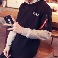 韩观男士秋季韩版套头卫衣长袖BF原宿风假两件连帽衫学生潮流宽松外套 黑色 Y36卫衣
