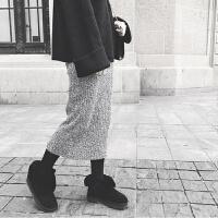 秋冬高腰针织半身裙女中长款包臀裙混色加厚毛线灰色显瘦一步长裙 混色(现货当天发) 均码