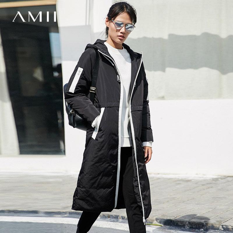 【每满200减100 多买多减 不封顶】Amii[极简主义]休闲 90白鸭绒羽绒服女 冬装新款宽松连帽拉链外套