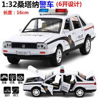 6开门 合金警车金属桑塔纳小汽车模型儿童玩具特警玩具车声光回力