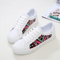 环球 新款潮涂鸦小白鞋女系带韩版百搭休闲鞋板鞋