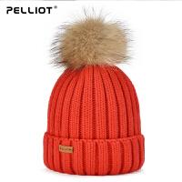 【年中大促】伯希和帽子女韩版百搭保暖毛球毛线帽冬季骑车防风加厚护耳针织帽