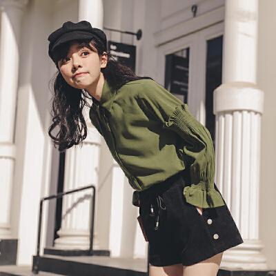 polo领灯笼袖衬衫2019冬季新款女韩版宽松长袖百搭学院风上衣衬衣